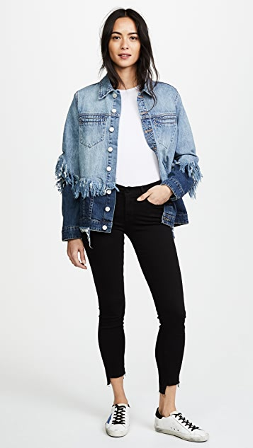 Blank Denim Double Shredded Denim Jacket