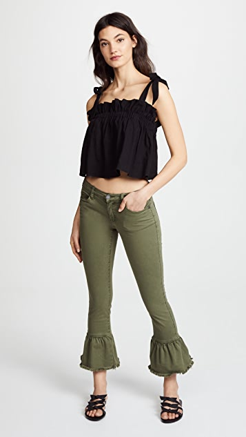 Blank Denim Skinny Jeans with Ruffle Hem