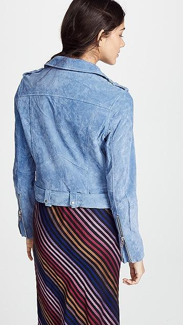 Blank Denim Suede Moto Jacket