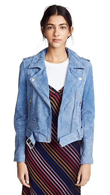 Blank Denim Suede Moto Jacket
