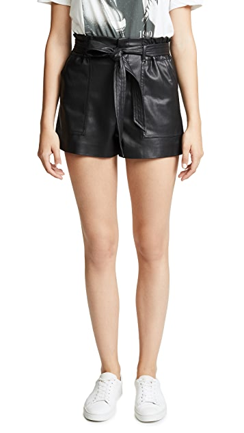Blank Denim Dark Web Vegan Leather Shorts