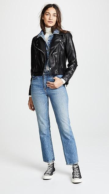 Blank Denim Double Layered Moto & Denim Jacket