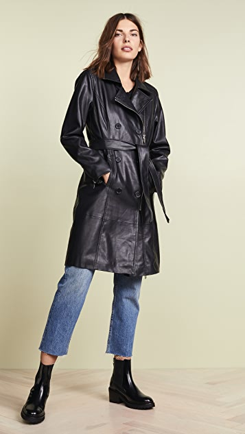 Vegan Leather Trench Coat by Blank Denim