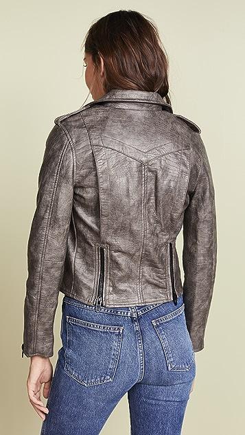 Blank Denim Croc Embossed Vegan Leather Moto Jacket