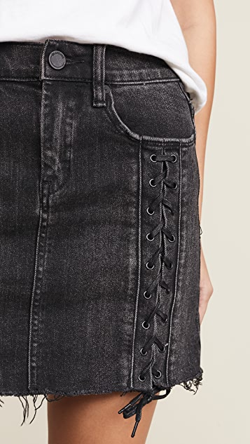 Blank Denim Lace Up Denim Skirt