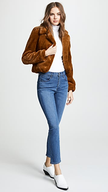 Blank Denim Cropped Faux Fur Jacket