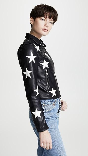 Blank Denim Star Print Vegan Moto Jacket