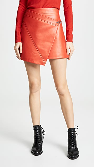 Blank Denim Asymmetrical Vegan Leather Skirt