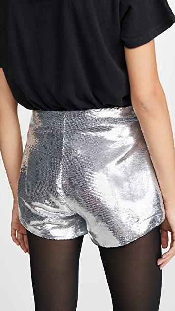 Blank Denim Sequin High Rise A-Line Shorts