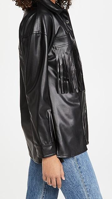 黑色牛仔布 仿皮流苏夹克