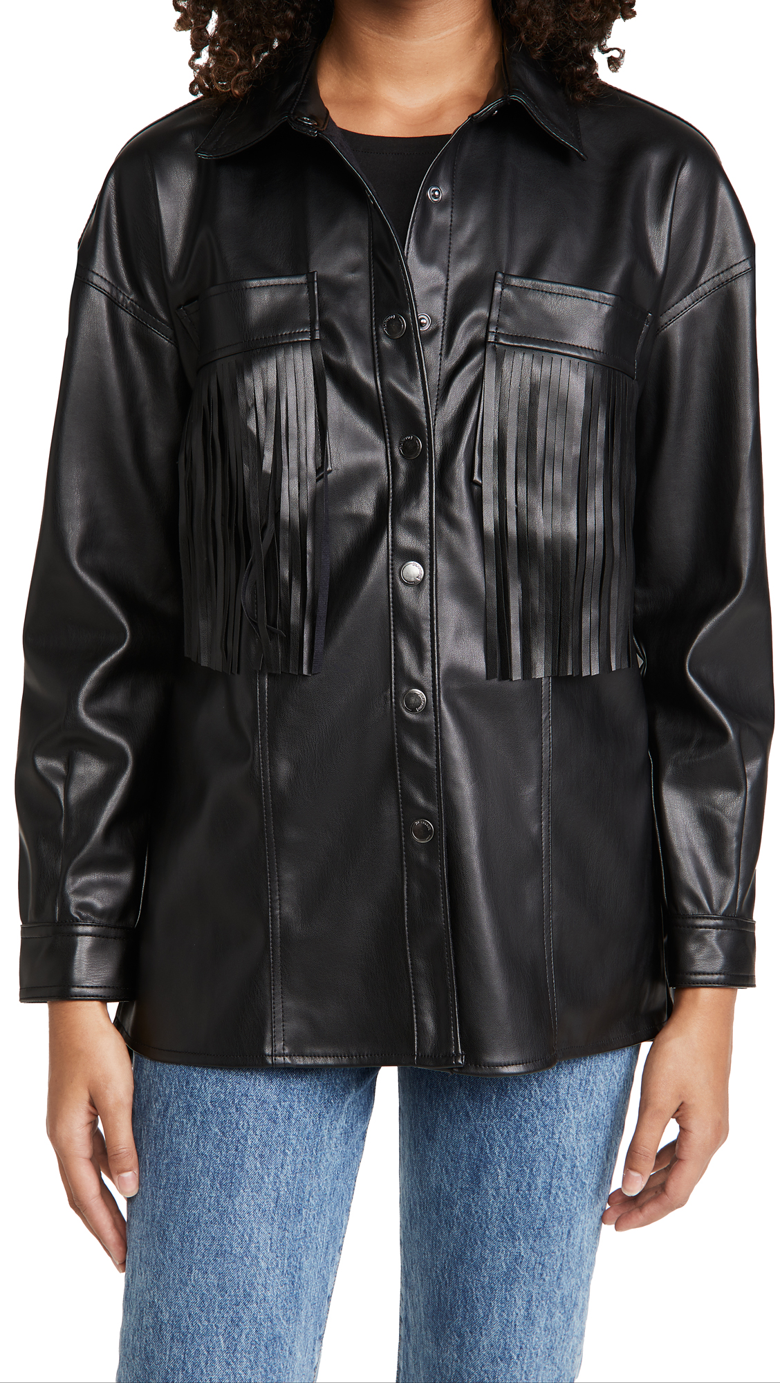 Blank Denim Vegan Leather Fringe Jacket