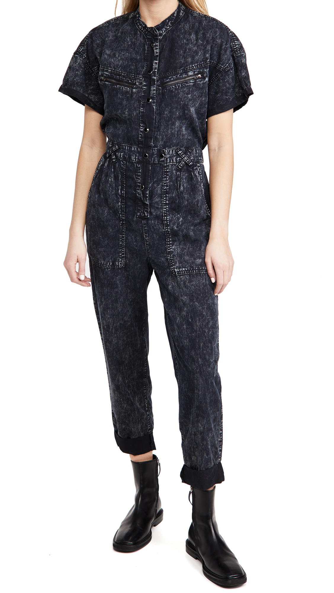 Blank Denim Drop Shoulder Tencel Overdye Jumpsuit