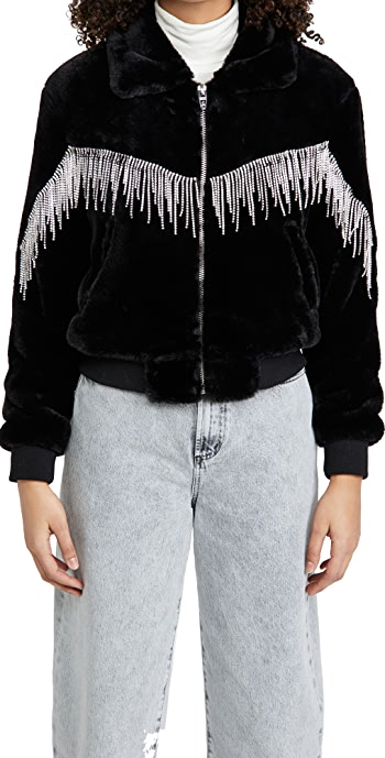 Blank Denim Black Diamond Faux Fur Jacket - Black Diamond