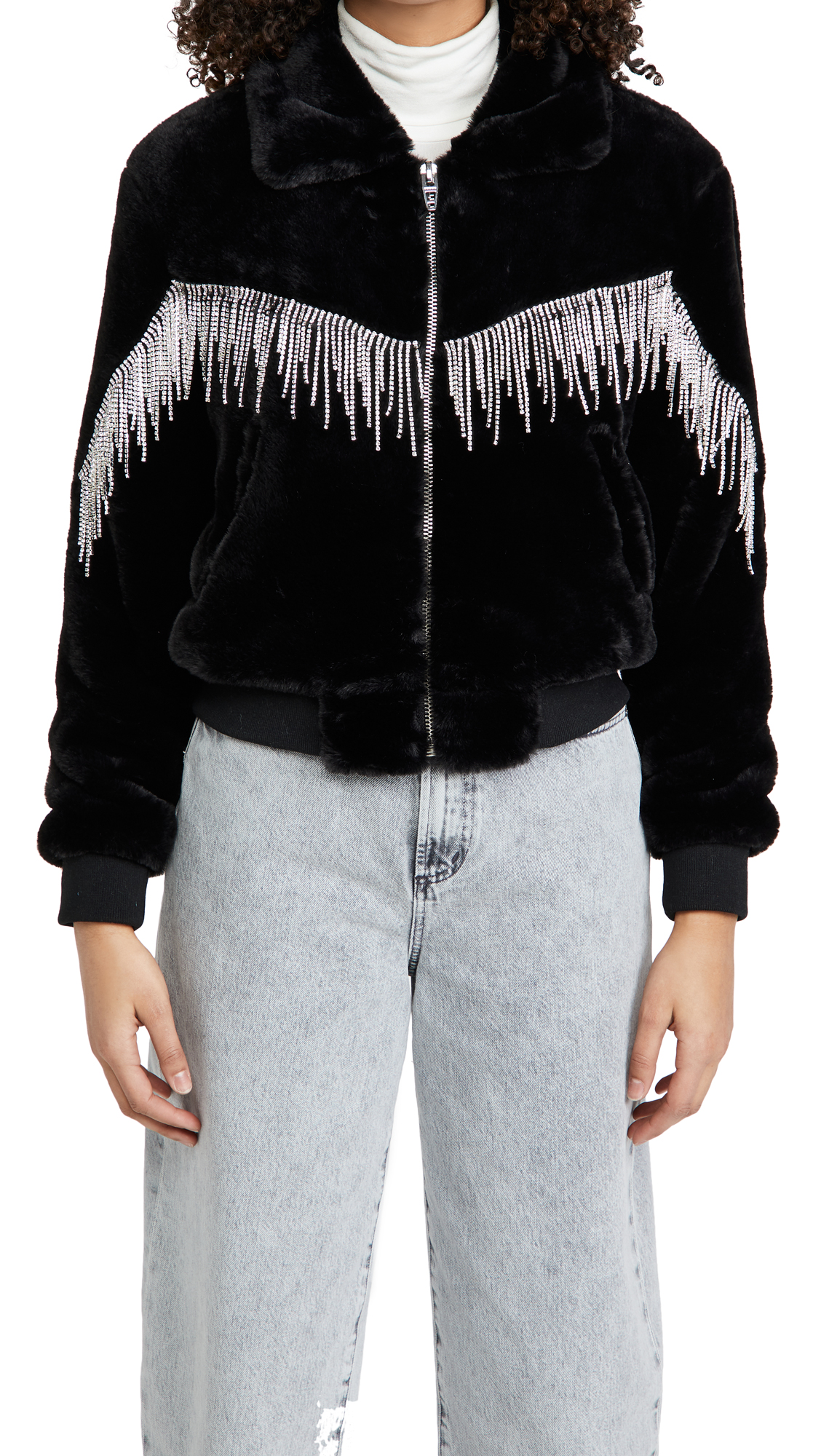 Blank Denim Black Diamond Faux Fur Jacket