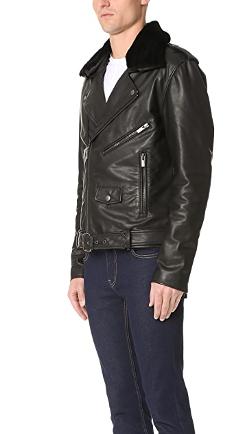 BLK DNM Shearling Collar Leather Jacket 5