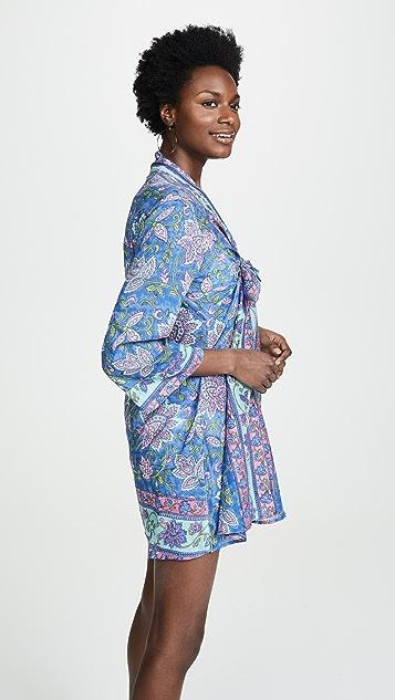 喇叭形 绑带和服连衣裙