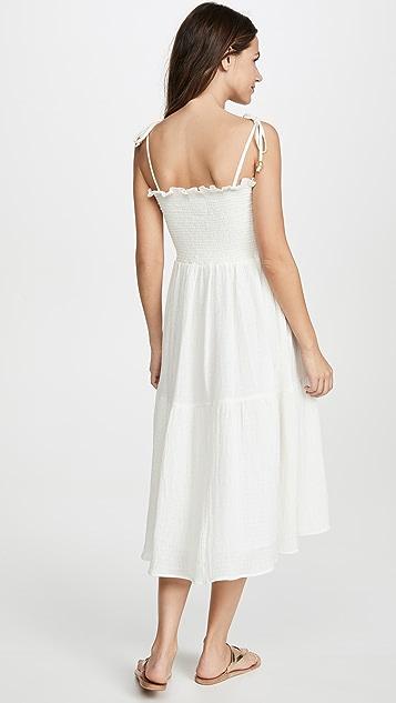喇叭形 抽褶中长连衣裙