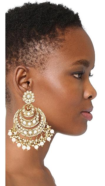 Blossom Box Chandelier Imitation Pearl Earrings