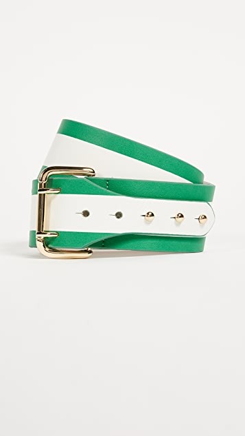 B-Low The Belt Griffin Stripe Belt - Green/White/Gold