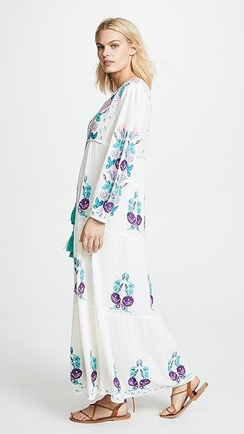 BLUE BOHEME Natural Lara Embroidered Dress