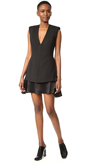 Brandon Maxwell V Neck Mini Dress