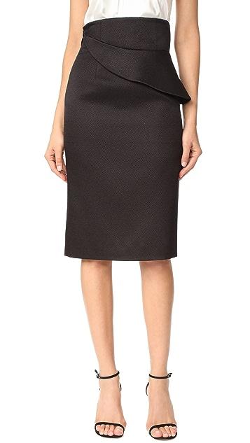 Brandon Maxwell Folded Waist Pencil Skirt