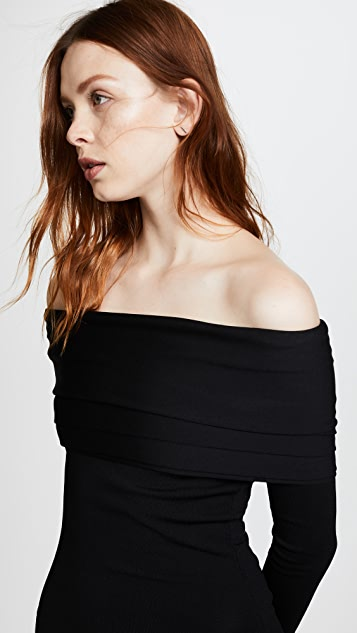 Brandon Maxwell Off Shoulder Layered Dress