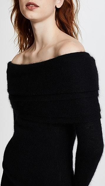 Brandon Maxwell Off Shoulder Layered Sweater