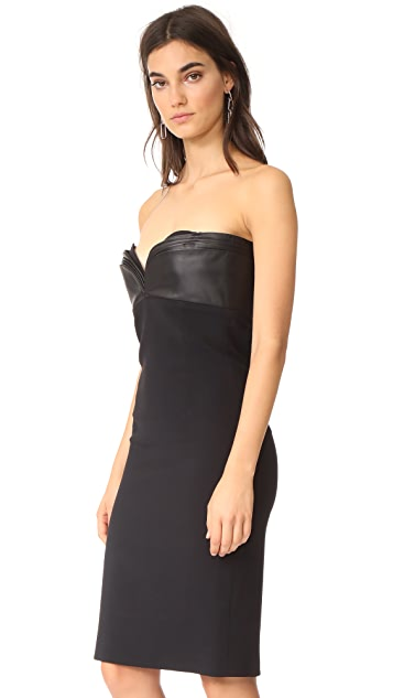 Brandon Maxwell Layered Bodice Mini Dress