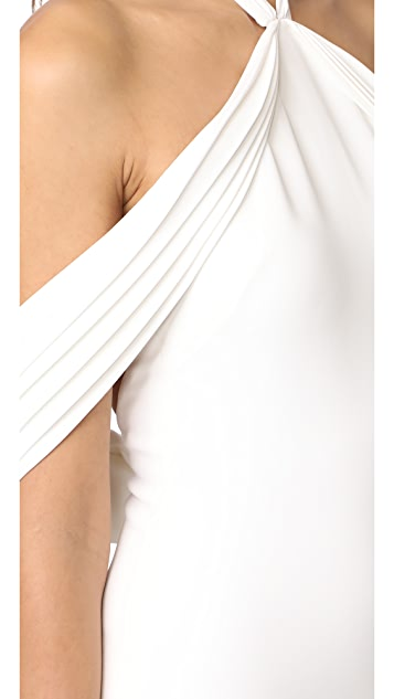 Brandon Maxwell Pleated Draped Shoulder Gown