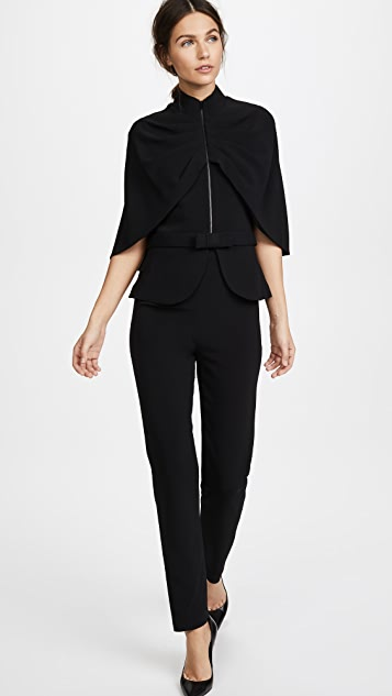 Brandon Maxwell Cape Jacket with Bow Belt