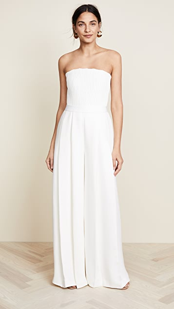 Brandon Maxwell Strapless Ribbed Bodice Jumpsuit