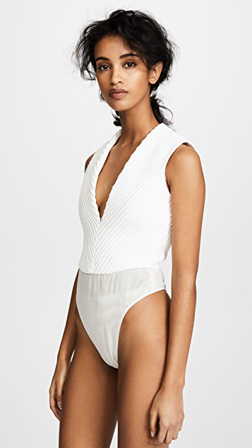 Brandon Maxwell Deep V Mitered Bodysuit