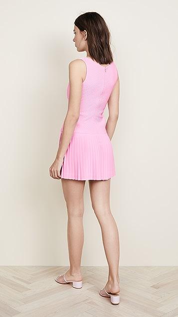 Brandon Maxwell Sweetheart Pintucked Tennis Dress