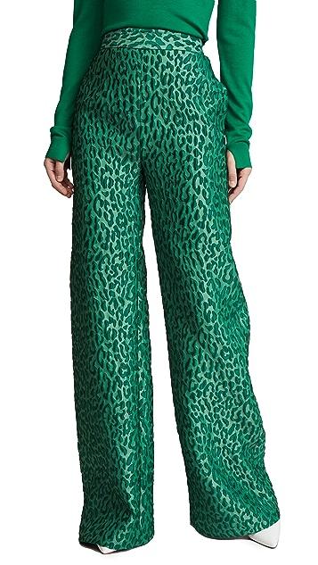 Brandon Maxwell Leopard Jacquard Wide Leg Pants