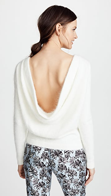 Brandon Maxwell Angora Draped Back Sweater