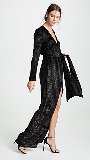 Brandon Maxwell Wrap Gown with Sleeves