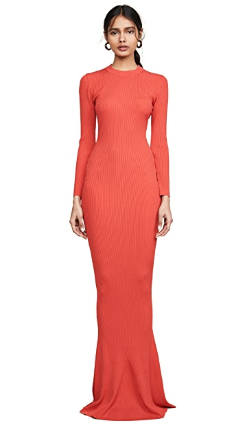 Brandon Maxwell Long Sleeve Full Length Knit Gown
