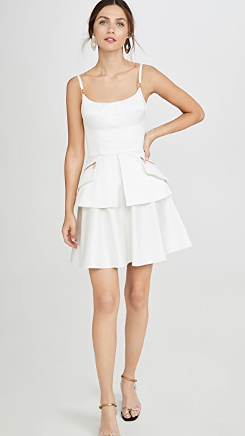 Brandon Maxwell Bustier Mini Dress with Peplum