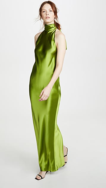 Brandon Maxwell Charmeuse Cowl Neck Gown