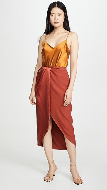 Brandon Maxwell 哑光/闪光色组合裹身半身裙