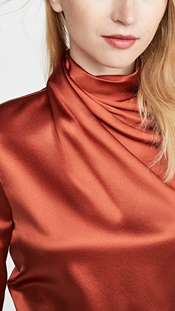 Brandon Maxwell Draped Neck Silk Blouse