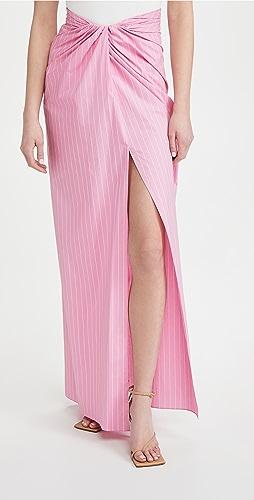 Brandon Maxwell - Pinstripe Wrap Skirt with High Slit