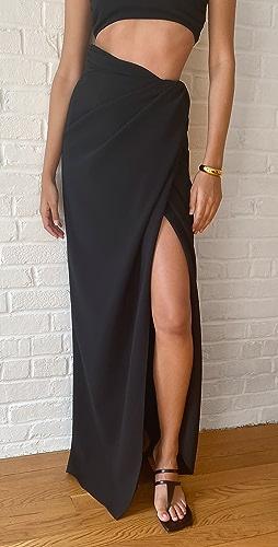 Brandon Maxwell - Floor Length Wrap Skirt with Thigh Slit