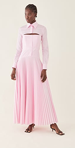 Brandon Maxwell - Cotton Dress with Pleated Skirt & Removable Bolero
