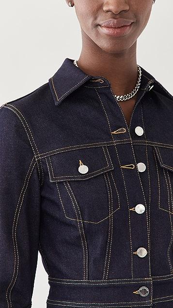 Brandon Maxwell 弹性牛仔布系扣连衣裙