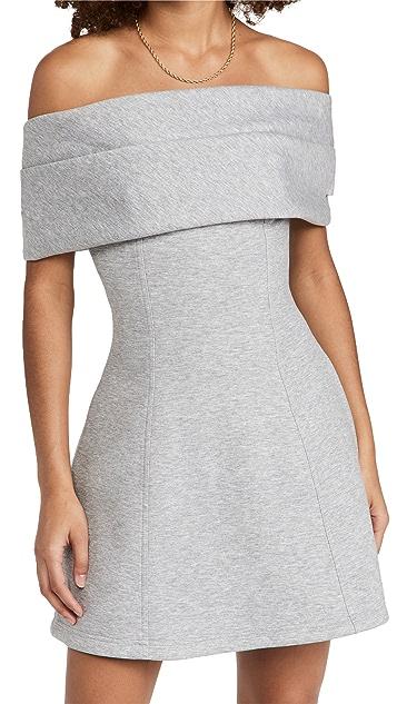 Brandon Maxwell Jersey Off The Shoulder Mini Dress