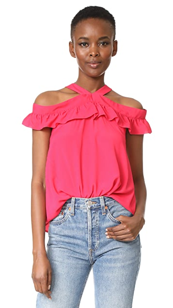Boutique Moschino Off Shoulder Ruffle Blouse