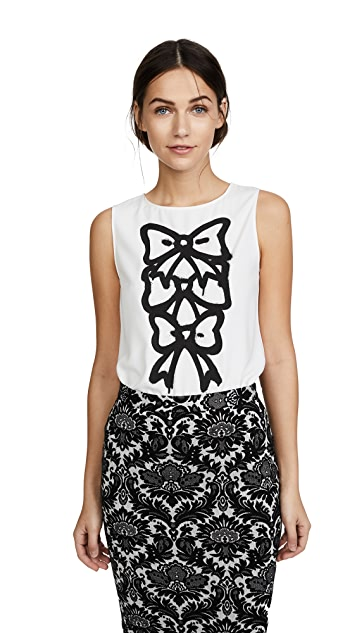 Boutique Moschino Bow Print Blouse