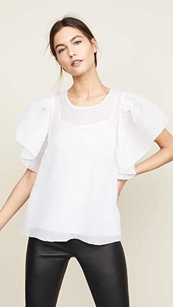 Boutique Moschino Flutter Sleeve Blouse - White